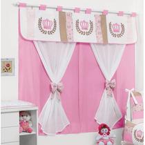 Cortina Princesa 2m + Poltrona Rosa 2 Peça Quarto De Bebê R*