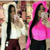 Casaco Blusa De Inverno Roupa Feminina Com Orelha Importado