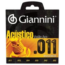Encordoamento Ou Cordas P/ Violão Aço 011 Giannini Acústico
