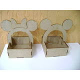 15 Cestinha Mickey Ou Minie Mdf, Cesta