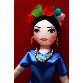 Frida Kalho Muñeca De Tela Pintada A Mano,artesania Unica!