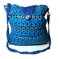 Bolsa De Crochê Azul Com Lacre De Latinhas De Alumínio