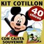 Mickey Kit Combo Cotillon Cumpleaños Con Cajita Souvenir X40