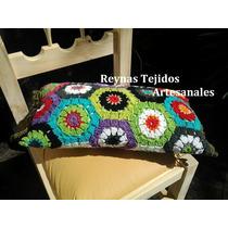 Almohadon Tejido Al Crochet Rectangular-tejidos Artesanales