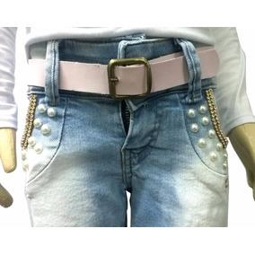 Short Bermuda Jeans Menina Infantil + Grátis Cinto Couro