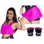 Kit Academia Feminino - Luva Osp5 + Shorts Saia + Regata