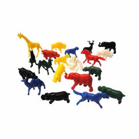 Kit 20 Animais Zoológico Colorido Plástico Bichos Brinquedo