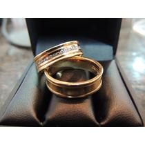 Glitter Joias - Alianças Ouro 18k Com 20 Pontos De Diamantes