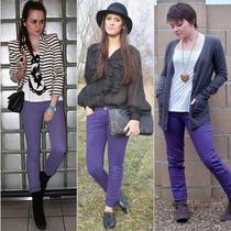 Calça Jeans Colorida Roxa Skinny Feminina Tamanho 38