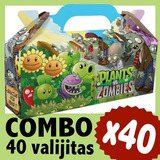 Plantas Vs Zombies Cajita Valijita Bolsita Cumple Combo X 40