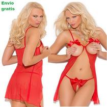 Sexy Baby Doll Femenina Erotico 2 Piezas Rojo Envio Gratis