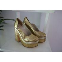 Zapatos Plataformas Fiesta Glitter Dorado Justa Osadía