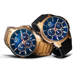 Relógio Orient Kit Dourado Solar Mgssc017 Fundo Azul E Preto