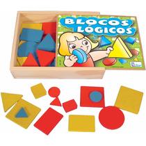 Blocos Logicos Jogo Brinquedo Educativo Pedagogico Madeira