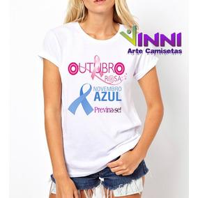 Camiseta Feminina Campanha Outubro Rosa Novembro Azul