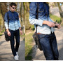 Camisa Jeans Masculina Moda Homem Rapaz Jovem Garoto Slim Fi