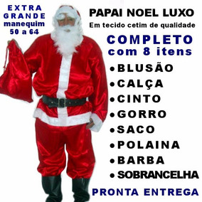 Roupa De Papai Noel Adulto Xgg Fantasia Completa Para Natal