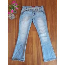 Jeans Celeste Semi Elasticados Talla 38 Bota Ancha