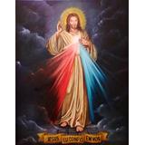 Quadro Jesus Misericordioso Pintura Óleo Sobre Tela 50x70cm