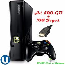 Xbox 360 Slim 4gb + Hd 500gb 100 Jogos + Hdmi + Carregador.