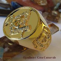 Anel Circular Compasso Maçonaria Ouro 18k Banho Promoção