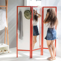 Biombo Ammy Com Espelho E 3 Asas Em Mdf Branco / Vermelho