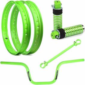 Par Aro Viper Street + Acessorios Verde Neon Cg 150 Fan