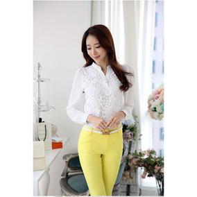 Blusa Camisa Importada Feminina Com Renda Fashion Lançamento
