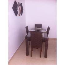 Mesa Bernadino Com 4 Cadeiras Sumatra Em Fibra Sintética.
