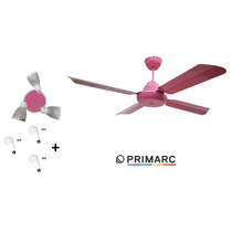 Ventilador De Techo Con 3 Luz Led 4 Palas Metal Color Rosa