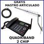 Kit Telefone Celular Rural 2 Chip Com Mastro Articulado