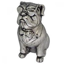 Escultura Decorativa Cachorro Em Resina Prata