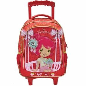 Mochila Feminina Escolar Infantil Rodinhas Moranguinho 4671