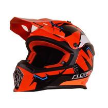 Casco Motocross Ls2 Mx 437 Fast Explosive Red Orange Liviano