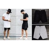 Short Bermuda Jeans Sarja Masculina Rasgada Branca Ou Preta