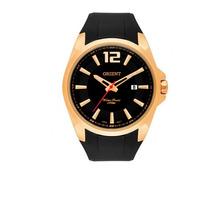 Relógio Orient Masculino Pulseira Borracha Caixa Dourada