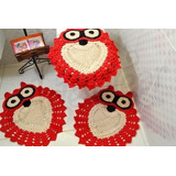 Jogo De Banheiro Crochê Vermelho 3 Peçs Em Formato De Coruja