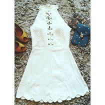 Vestido Sino Barato Festa Ano Novo Branco Curto Panicat Moda