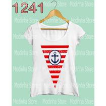 Camiseta Blusa Tshirt Estampa Flâmula Marinheiro Âncora