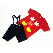 Conjunto Infantil - Bermuda + Camiseta + Suspensório Mickey