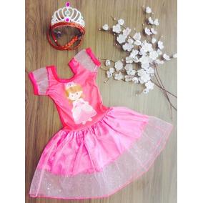 Vestido Princesas Ana Frozen Com Coroa Incluso Pronta Entreg