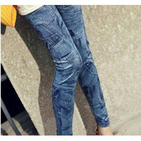 Calça Legging Feminina Sublimada Imita Jeans Estilo Panicat