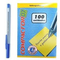 Caneta Compactor Azul 0.7 Caixa Com 100 Unidades
