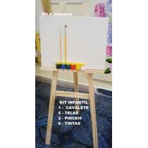 Kit De Pintura Infantil 1cavalete C/5 Tela+2 Piceis+6 Tintas