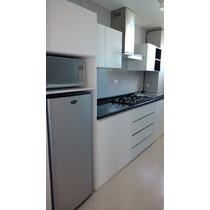 Cocina Lineal Moderna De 250x60x90 Con Mueble Para Refri...