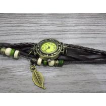 Relógio Feminino Pulseira Bracelete Vintage Pingente Marrom