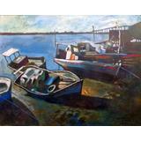 Quadro Pintura Tela Óleo Paisagem Mar Barcos Porto Praia Céu