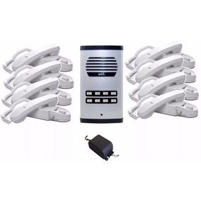 Porteiro Eletrônico Coletivo 8 Pontos Agl + 8 Monofones