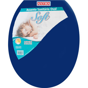 Assento Sanitário Oval Plástico Azul 11 Astra P/ Vasos Ovais