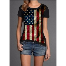 Blusa Bandeira Estados Unidos Feminina Preta Malha Fria Eua